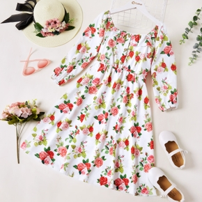 Kid Girl Floral Print Square Neck Button Design Long-sleeve Sweet Dress
