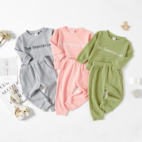 2pcs Solid Letter Print Waffle Long-sleeve Baby Set