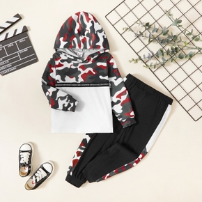 Toddler Boy Letter Camouflage Print Stitching Hoodie and Elasticized Pants Set