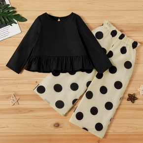 2-piece Toddler Girl Solid Ruffle Long-sleeve Top and Polka dots Pants Set