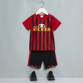 Football Print Tee and Shorts Athleisure Set for Toddlers / Kids