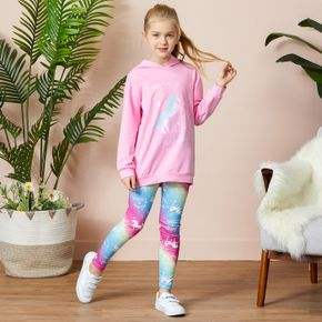Kid Girl Unicorn Hoodie and Leggings Set