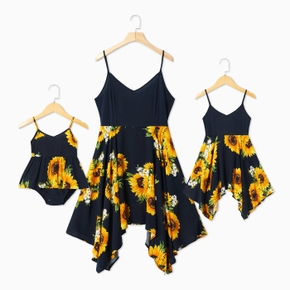 Sunflower Print Sling Dresses for Mom and Me