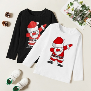Trendy Kid Boy/Girl Christmas Santa Print Longsleeves Tee