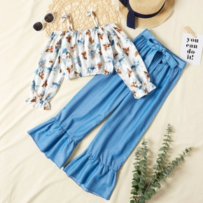 2-piece Kid Girl Strappy Floral Print Long-sleeve Top and Denim Flared Pants Set