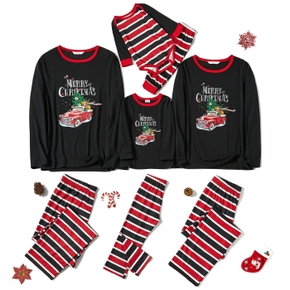 Family Matching Red Car Driving Christmas Tree Print Striped Pajamas Sets (Flame Resistant)