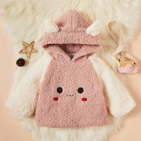 Baby / Toddler Girl Animal Rabbit Ear Colorblock Fluff Hooded Coat