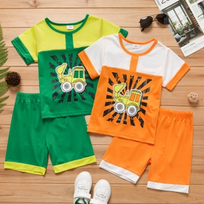 Vehicle Color Block Tee and Shorts Athleisure Set for Toddlers/Kids