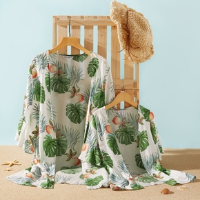 Leaf Fruit Printed Beach Cover Up for Mommy and Me