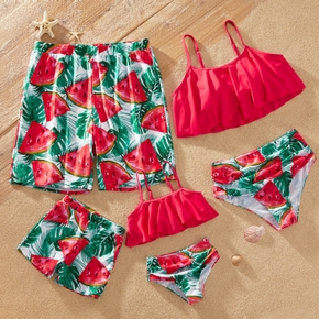 Watermelon Print Color Block Family Matching Swimsuits