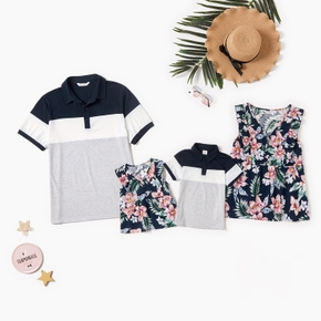 Floral Print and Color Block Family Matching Tops