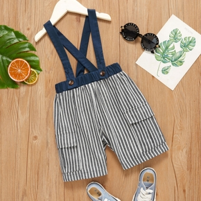 Toddler Boy Striped Overalls