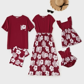 Mosaic Floral Print Family Matching Claret-red Sets