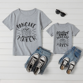 Letter Print Grey Cotton T-shirts for Mommy and Me