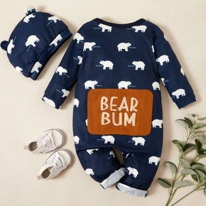 2-piece Baby Polar Bear Allover Jumpsuit with Hat Set