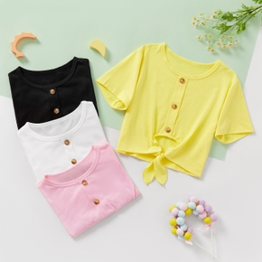 Fashionable Kid Girl Bowknot Button Solid T-shirt