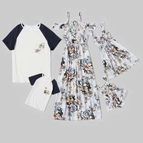 Floral Print Family Matching Sets(Dresses - Raglan Sleeves T-shirts  - Baby Rompers)