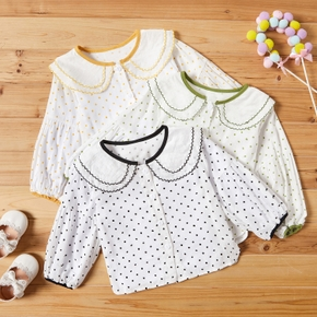 Baby / Toddler Cute Doll Collar Dots Long-sleeve Shirt