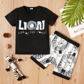 Trendy Toddler Boy Letter Lion Print Top And Shorts