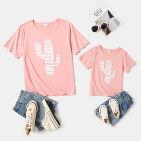 Cactus Plant Print Pink Short Sleeve T-shirts for Mom and Me