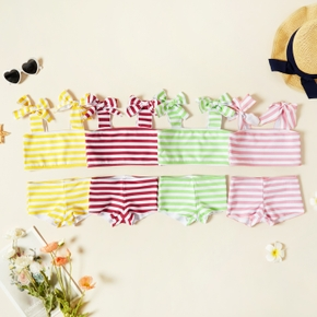 2-piece Toddler Girl Striped Bowknot Strap Top and Shorts Swimsuit Set