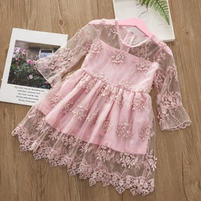 Solid Floral Mesh Splice Long-sleeve Baby Dress