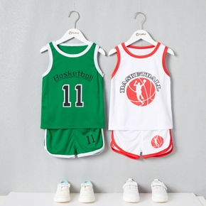 Basketball Print Tank Top and Shorts Athleisure Set for Toddlers/Kids