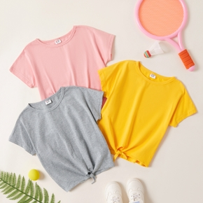 Solid Short-sleeve Top for Kids