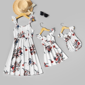 Floral Print Ruffle Sling Dresses for Mommy and Me