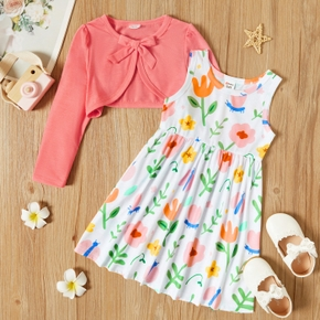 2-piece Toddler Girl Floral Print Sleeveless Dress and Bowknot Long-sleeve Solid Shrug Cardigan Set