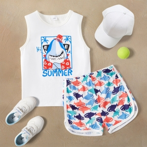 Shark Print Tank Top and Shorts Set for Toddlers / Kids