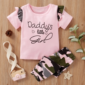 2-piece Baby / Toddler Letter Camouflage Tee and Pants Set
