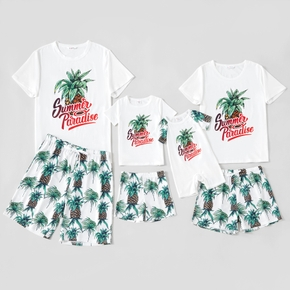 Mosaic Family Pineapple Print Round Neck Matching Pajamas Set(Flame Resistant)