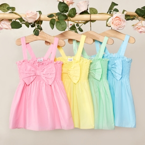 1pc Baby Girl Sleeveless Bowknot Cotton Solid Dress