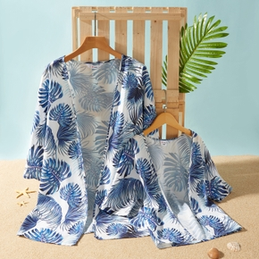 Blue Leaves Print Matching White Cover Up