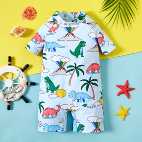 1pc Toddler Boy Short-sleeve Dinosaur Swimwear