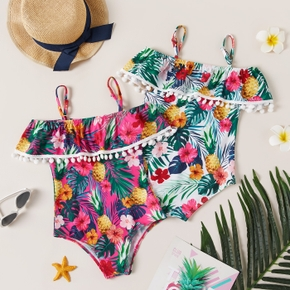 Beautiful Kid Girl Floral Allover Print Singlet Swimsuit