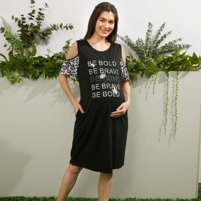 Maternity casual Letter Leopard Print Round collar H Short-sleeve Dress