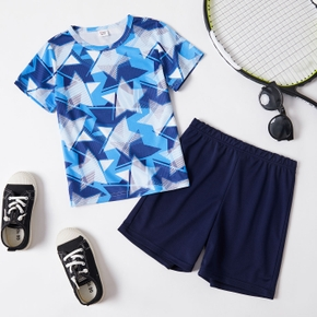 Stars Print Tee and Shorts Athleisure Set for Toddlers/Kids