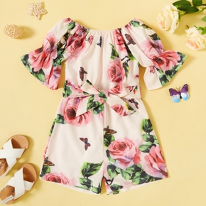 Toddler Girl Rose Floral Print Jumpsuit