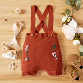 Baby Girl/Boy Floral Embroidery Button Design Strappy Jumpsuit