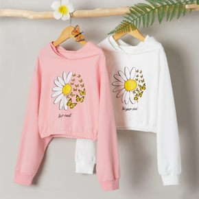 Kid Girl Sweet Floral & Butterfly Sweatshirt