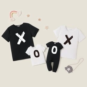 Mosaic Letter Print Cotton Family Matching Tees and Jumpsuit