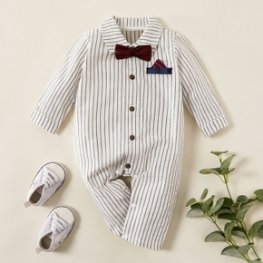 Baby Boy Gentleman Bowknot Decor Stripe Long-sleeve Jumpsuit