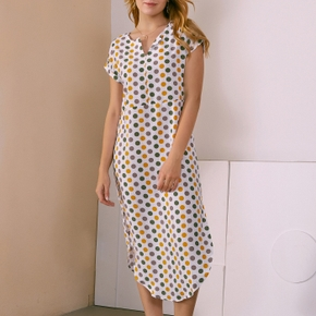 elegant Polka dot Print Half open collar H Midi Dress
