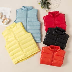 Trendy Solid Sleeveless Stand Collar Vests