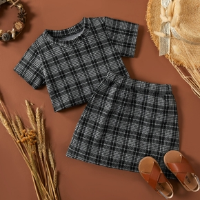 2-piece Baby / Toddler Girl Plaid Top and Skirt Set