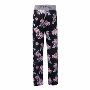 Maternity casual Floral full print Black Casual pants