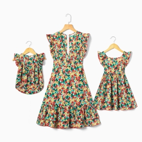 Colorful Floral Print Matching Midi Dresses