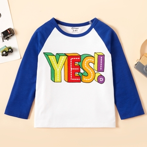 Toddler Boy Letter Print Colorblock Long-sleeve Tee